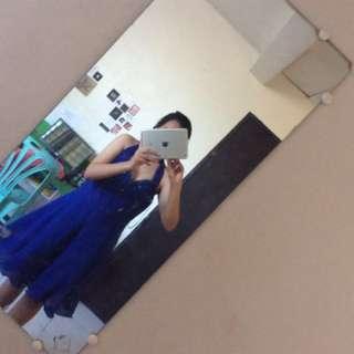DESIGNER Navy Blue Prom Dress