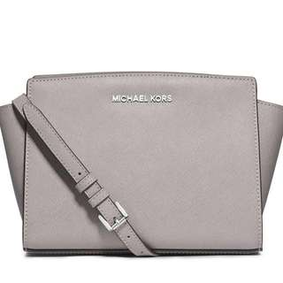 Free Shipping AUTHENTIC Michael Kors Pearl Grey Selma Medium Messenger