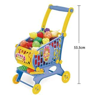 Supermarket Trolley Toys Play Set with Plastic Fruits