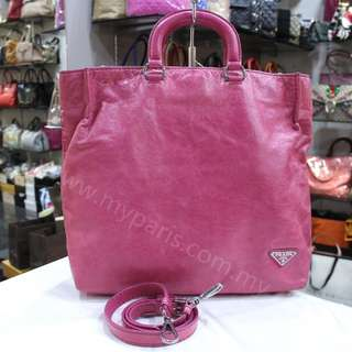Prada Pink Leather 2 Ways Used Bag