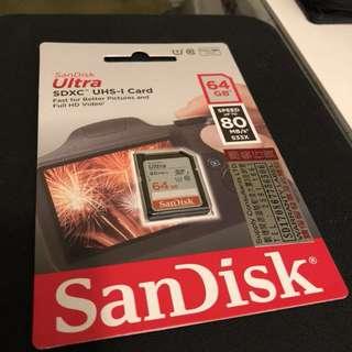 全新有單未用過-San Disk Ultra SDHC 64GB (84mb/s)