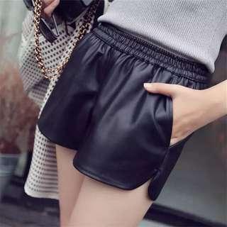 免運❤️韓版寬鬆顯瘦皮褲短褲鬆緊基本款多尺碼可選