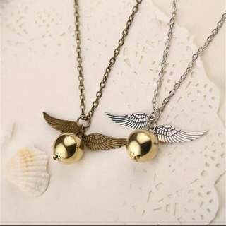 Harry Potter golden snitch necklace quidditch