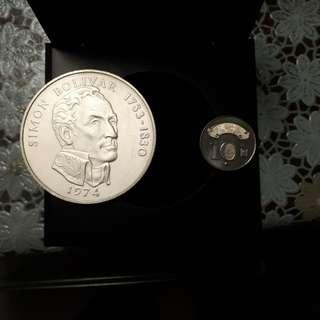 1974巴拿馬 西蒙 玻利瓦爾紀念大銀幣(925銀 約131.69g)附原木盒