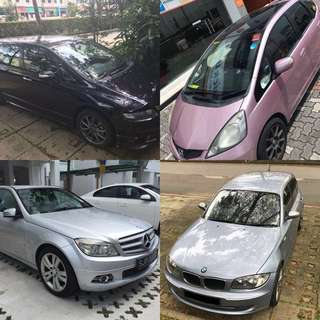 Available Cars for Rental (Grab/Uber)