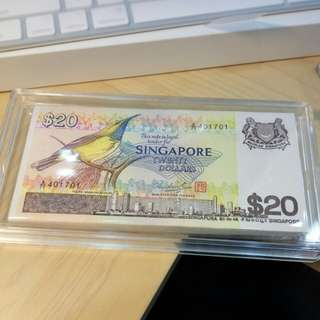 Singapore Bird $20 Dollars 1 stack 100pcs Gem UNC no foxing