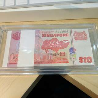 Singapore Bird $10 Dollars 1 stack 100pcs GEM UNC no fox
