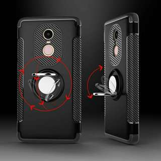 XiaoMi RedMi Note 4X Luxury Case/Magnetic Car Holder w/ Metal Ring Holder Black