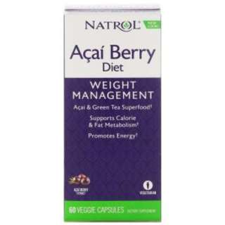 Ready Stock Natrol, AcaiBerry Diet, Acai & Green Tea Superfoods, 60 Veggie Capsules