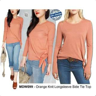 MADEWELL Orange Knit Longsleeve Side Tie Top