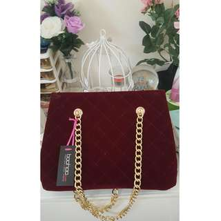 Boohoo Red Burgundy Wine Gold Velvet Hand Bag Tote Forever New - New with tags