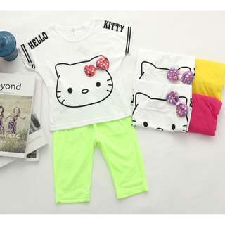 🎇🎇Ready Stock🎇🎇Hello Kitty Kids Cloth Set (Apple Green & Yellow)