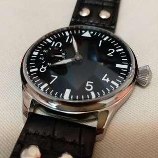 全新 飛機師 飛行員 手上鍊 自動錶 機械錶 44mm 透明底 Pilot watch