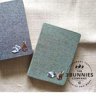 Rabbit Bunny Notebook, Rabbit Bunny Sketchbook, Rabbit Bunny Notepad, Fabric Notebook, Embroidery Notebook, Minimalist Notebook, Animal Note