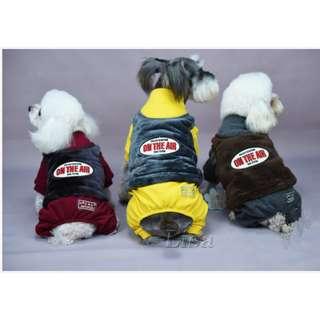 🚚 DP雜貨鋪 寵物衣服 秋冬新款加厚法蘭絨假2件四腳衣 貓狗衣服 馬爾濟斯/貴賓/博美/吉娃娃
