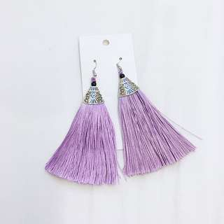 Purple fringe earring