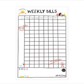 21 pcs weekly bill planner