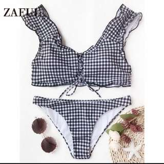 Bikini Zaful Women New Frilled Gingham Lace Up Bralette Set