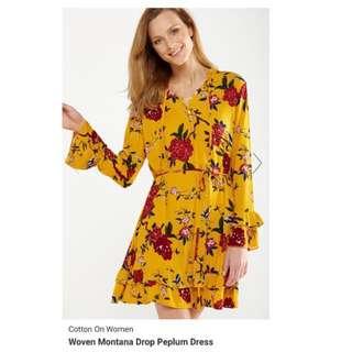 BN COTTON ON Woven Montana Drop Peplum Dress L size