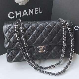 Chanel A01112 Classic Coco 26cm 黑荔枝皮銀鍊 保卡最新25開頭 現貨