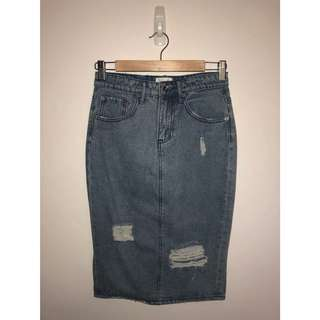 Seed Distressed Denim Skirt