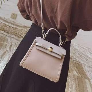 Solid Coloured Flipped Case Short Handle Designed Crossbody Slingbag