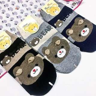 韓國 空運 Korea.條紋 可愛 棕熊 熊熊 立體 耳朵 棉襪 少量現貨