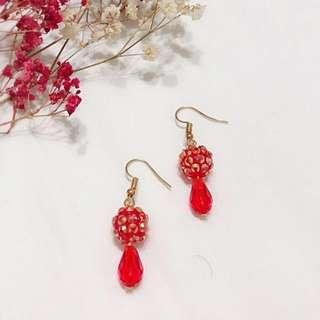 Red Lantern Style Earrings Handmade