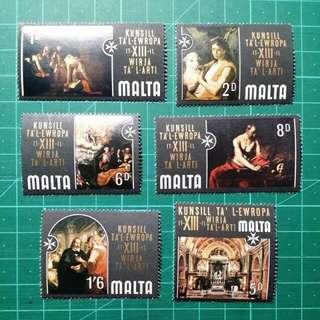 1970 英屬馬爾他 藝術品新票六枚