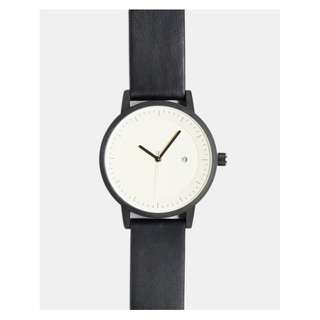 BNWT Minimal Unisex Simple Watch Co Earl Black/White Leather Band 42mm RRP $229