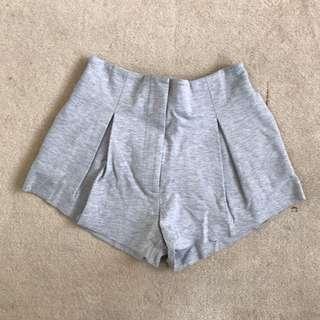 Bassike Pleated Grey Shorts