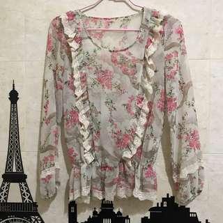 韓國 花朵長袖蕾絲雪紡上衣