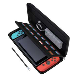 [IN-STOCK] Nintendo Switch Case, amCase Hard Carrying Case for Nintendo Switch with 14 Game Cartridge Holders with Zipper Protective Travel Case (Black)
