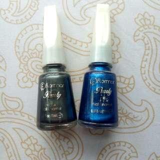Flormar nail polish 2 pcs (grey and metalic blue