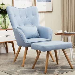 Blue accent chair with foot stool