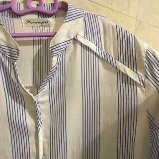 韓國 小清新條紋設計感上衣
