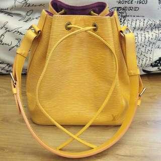 Authentic Louis Vuitton Petit Noe Epi leather yellow
