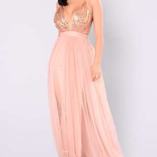 Fashion Nova maxi Dress Rose Gold