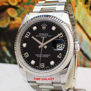 Preowned ROLEX Oyster Datejust 34mm mid size Black Dial with diamond Automatic Stainless Steel watch. Model 115234. Swiss made.