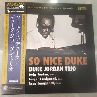 Duke Jordan Trio – So Nice Duke, Japan Press Vinyl LP, Master Music (Harmonix Master Sound)/Three Blind Mice – MSA-001, 2017, with OBI