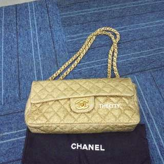 AUTHENTIC CHANEL GOLD LEATHER FLAP BAG