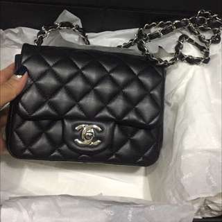 Chanel mini square 17cm  ,lamb leather phw,full set with org receipt ,card number:22xxxx