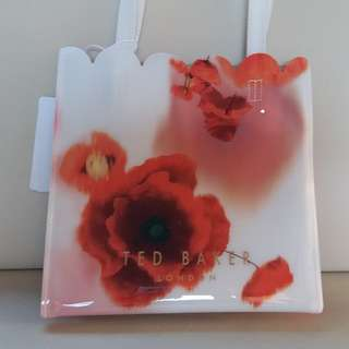 Ted Baker Icon Small Red Poppy Flower Shopping Beach Tote Handbag Shoulder Bag