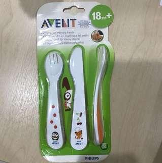 Deep scoop spoon, fork & knife