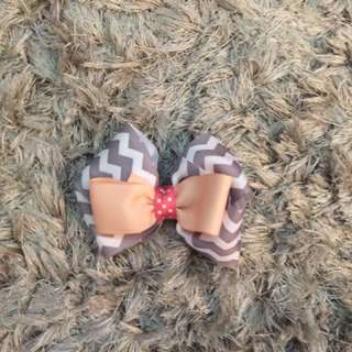 Pink and Grey Chevron Handmade Hair Bow
