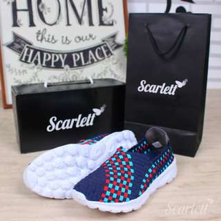 Scarlett Kimberlyn Slipon Sneakers Edition S50267 / S710#11  Quality     : ORIGINAL BRAND  Material   : Fabric Canvas Rubber (Soft) Variant     : 4 Colors (Black, Brown, NavyBlue, Red)  Weight     : 0,55 Kg  Size & Insole:  36 (23.5cm) 37 (24cm)