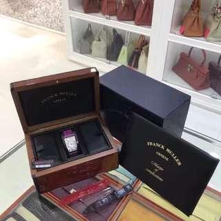 Franck muller 女款鱷魚皮手錶,鱷魚皮錶帶🐊 全套有證書盒子,購入61000,現在全套秒殺港幣