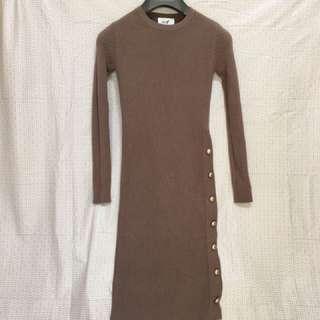 韓版咖啡色毛衣連身裙