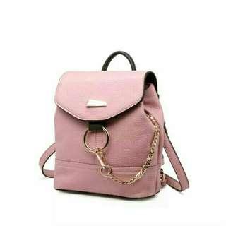 Ransel bag pink gold