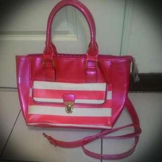 Pink PU Leather Handbag